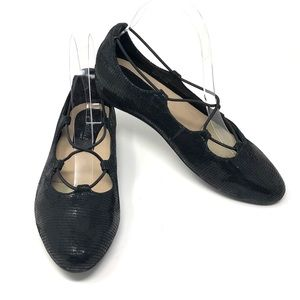 Earthies Essen Soft Leather Shiny Black Flats 7.5B